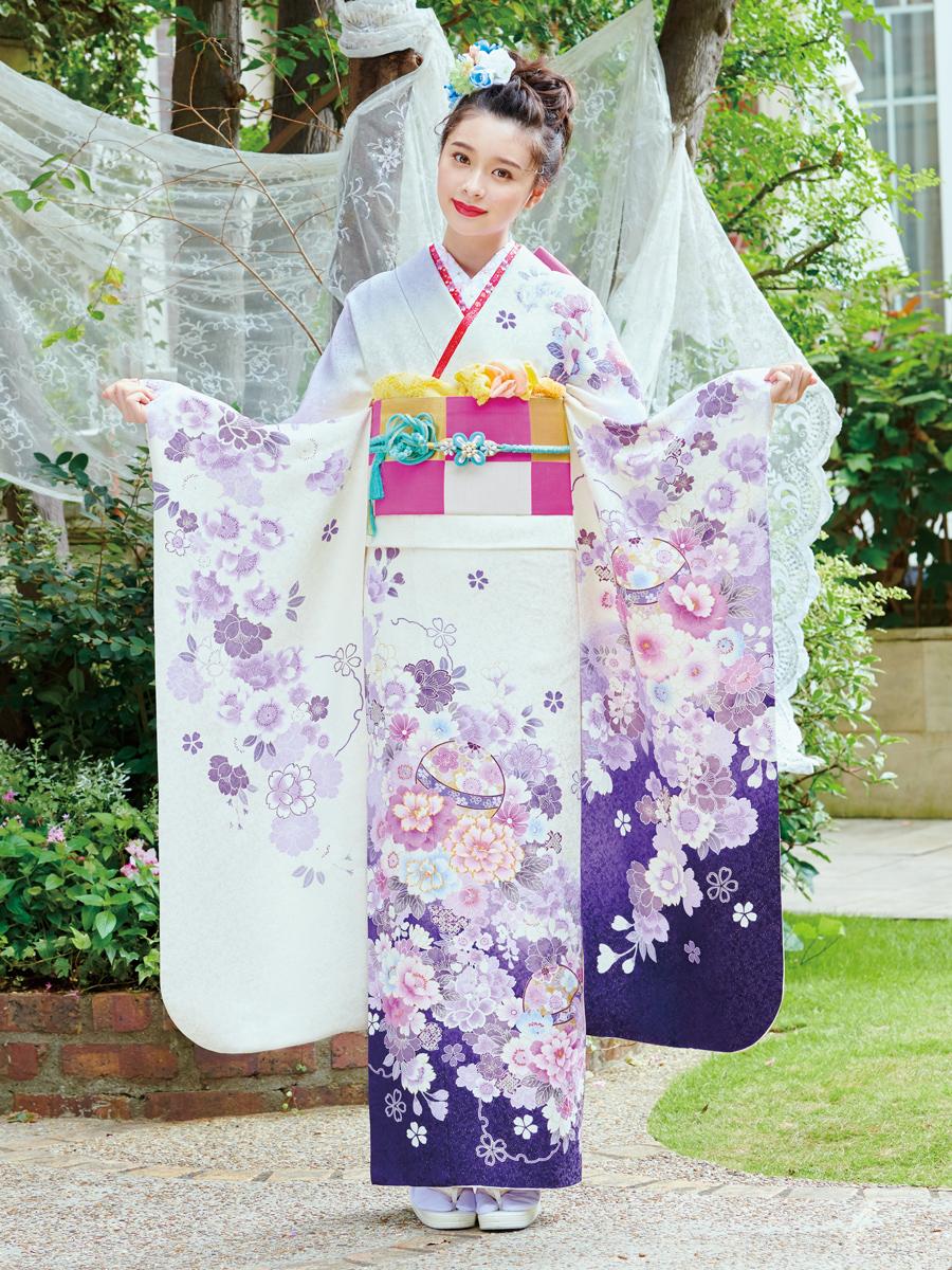 振袖の一蔵 最新振袖コレクション2019! 白 紫 E-621