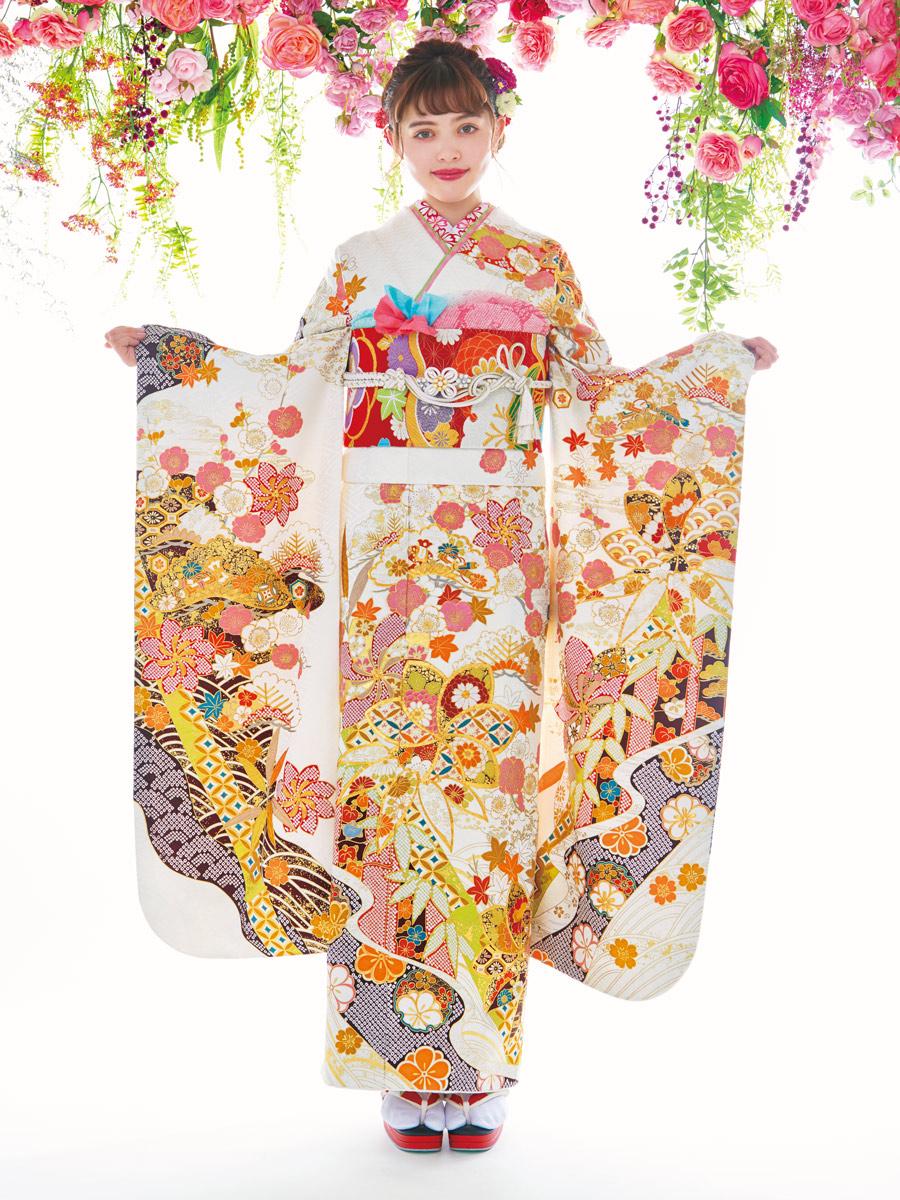 振袖の一蔵 新作コレクション2019 白 加藤ナナ